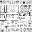Navigation hand drawn doodles - Stock Vector