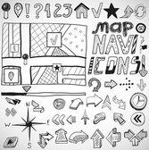 Doodles dessinés à la main navigation — Vecteur