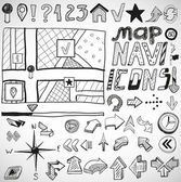 Navigation hand drawn doodles — Vecteur