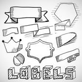 Hand drawn labels and design elements doodles — Stock Vector