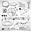 Infographic business graphs doodles — Vector de stock