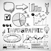 Infographic business graphs doodles — Stock Vector