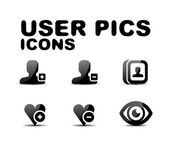 用户黑色有光泽的图标集。矢量插画 — 图库矢量图片