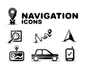 Navigation glossy black icon set — Stock Vector