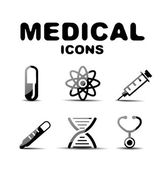 Black glossy medical icon set — Stock Vector