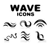 Wave glossy black icon set — Stock Vector