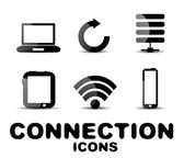 Cloud connection glossy black icon set — Stock Vector
