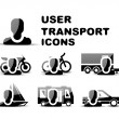 Black user transport glossy icon set — Stock Vector