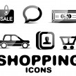 Black glossy shopping icon set — Stock Vector
