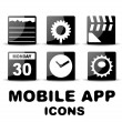 Black glossy square mobile app icons — Stock Vector