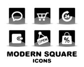 Modern glossy black square icon set — Stock Vector