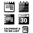 Black glossy calendar icon set — Stock Vector