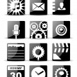 Modern black flat mobile app icon set — Stock Vector