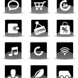 Modern black flat mobile app icon set — Image vectorielle