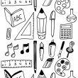 Hand drawn back to school dooldes / icons set — Stock vektor