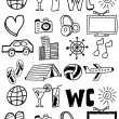 Travel icons set / doodles hand drawn — Stock Vector