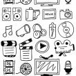 Hand drawn movie doodles — Stock Vector