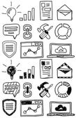 Hand drawn seo doodles / icon set — Stock Vector