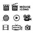 Hand drawn movie icon set isolated on white — Stock Vector