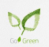 Groene blad hand getrokken concept — Stockvector