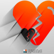 Vector broken heart paper 3d design — Stock Vector