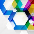 Rainbow hexagons modern design template — Stock Vector