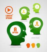 Vector head and ideas presentation template — Stock Vector