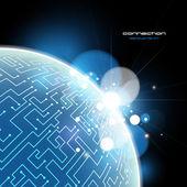 Blue Earth connection vector concept — Stock Vector