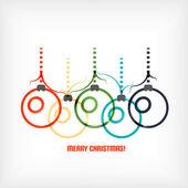 Christmas balls vector line art background — Stock Vector