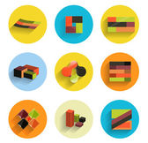 Infographic inside colorful circles. Flat icon set — Stock Vector