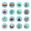 Christmas flat vector icon set — Stockvektor