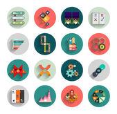 Infographic inside colorful circles. Flat icon set — ストックベクタ
