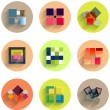 Set of abstract geometric flat icons — Stock Vector