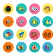 Infographic inside colorful circles. Flat icon set — Imagen vectorial