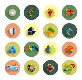 Infografica all'interno di cerchi colorati. set di icone piatte — Vettoriale Stock