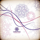 Colorful vintage snowflake swirls / Christmas card — 图库矢量图片