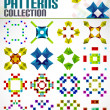 Abstract geometric square patterns shapes set — Stock Vector