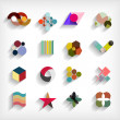 3d flat geometric abstract business icon set — Stock Vector #34941567