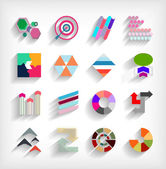 3d flat geometric abstract business icon set — Stock Vector