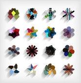 3 d 平らな幾何学的抽象ビジネス アイコンを設定 — ストックベクタ