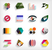 3d flat geometric abstract business icon set — Vettoriale Stock