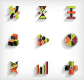 3d flat geometric abstract business icon set — Stockvektor