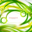Green abstract eco wave swirls with lights — Stock Vector