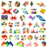 Set of infographic geometric templates - triangles — Stock Vector