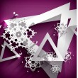 Stock Vector: Holiday Paper 3d Snowflakes