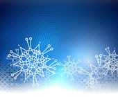 Blue Christmas bokeh snowflake background — Stock Vector