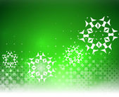 Vector green Christmas card bokeh snowflakes — Stock Vector