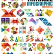 Huge geometric shape infographic template set — Stock Vector