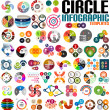 Huge modern circle infographic design template set — Stock Vector