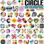 Huge modern circle infographic design template set — Stock Vector